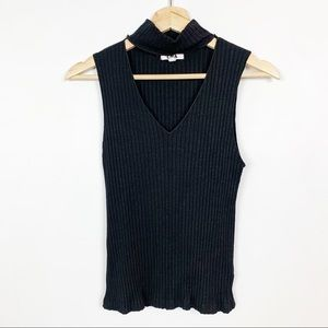 LNA Ribbed Choker Tank Top Cute Sleeveless Small